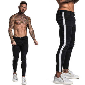 Gingtto Black Skinny Jeans For Men Denim Stretch Slim Fit Jeans Brand Biker Style Classic Hip Hop Ankle Tight Taping Male zm38