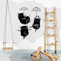 Cute Wall Stickers Dancing Kitties Baby Girl Nursery Wall Decal Removable Vinyl Newest Creative Mural Kids
