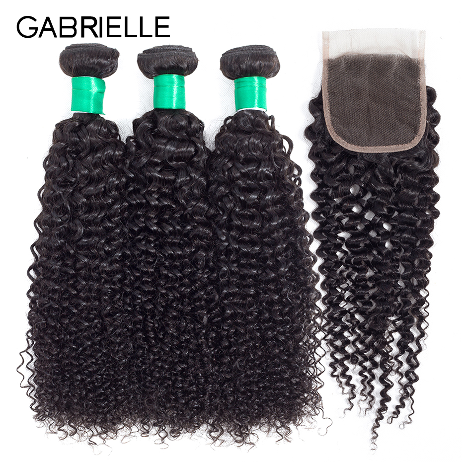 Gabrielle Afro Kinky Curly Hair Natural Color Mongolian Hair Bundles with Closure Non Remy Human Human