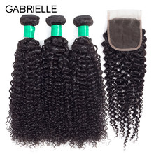 Gabrielle Afro Kinky Curly Hair Natural Color Mongolian Hair Bundles with Closure Non Remy Human Human Hair Weaves Free Shipping(China)