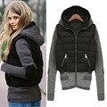 2016 Зимняя Куртка Женщины Трикотажные рукава, капюшон Парки Бурелом Верхняя Одежда Пальто Женщина Мода KB831