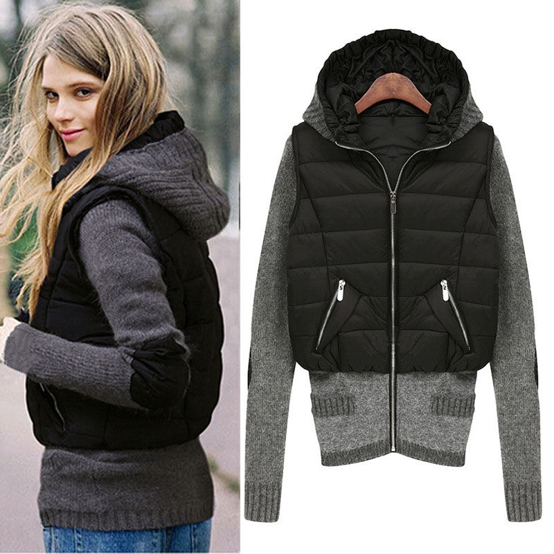 2018 Winter Jacket Women Knitted sleeve hood Parkas Windbreak Outerwear Coat Woman Fashion KB831