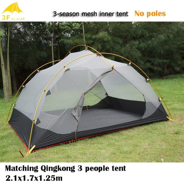 3F UL Gear Ultra-léger 3 personnes tente en maille polyvalente Qingkong tente assortie pour temps chaud ou été 3 saisons/4 saisons