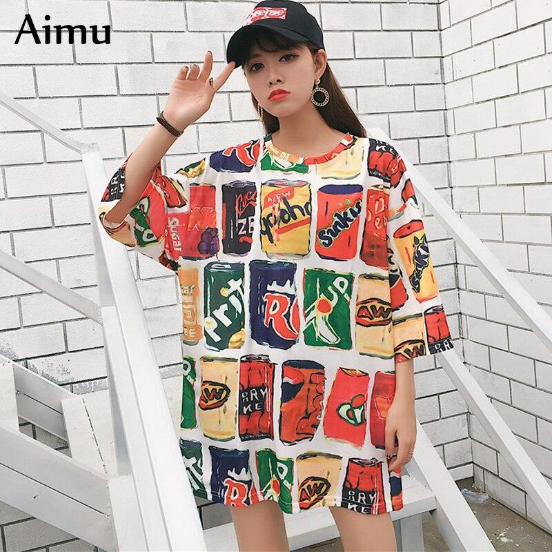 2019 summer Women Short Sleeve   T     Shirt   Casual printing O-Neck   t  -  shirts   Female Oversize tshirt Loose Harajuku streetwear tee Tops