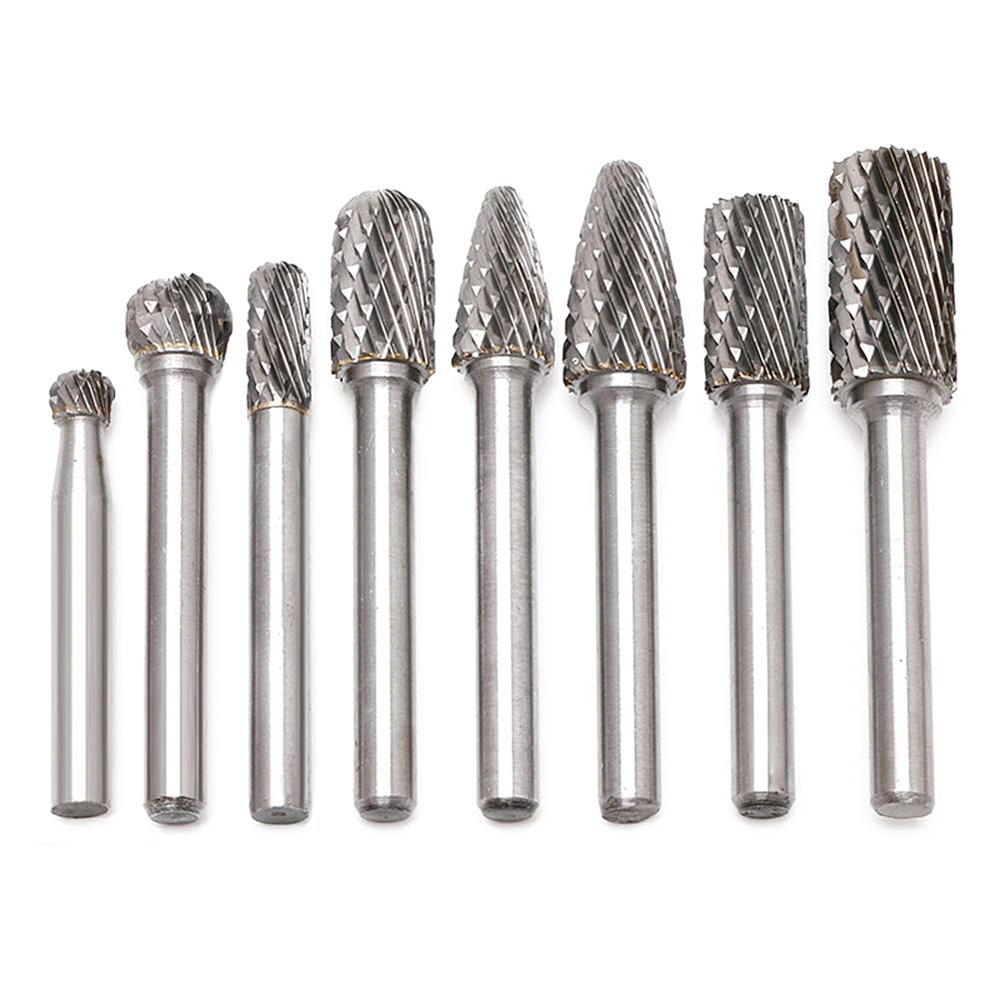 8Pcs/set 45mm 65mm Double Cut Tungsten Carbide Rotary Burr Set 6mm Shank File CNC Power Tools Double Cut Drill Bits Set