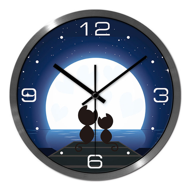 *?Love Cat Wall Clock Precise Time Low Power Consumption Silent Wall Clock Good Quality For Children / Student Room Wall Clock
