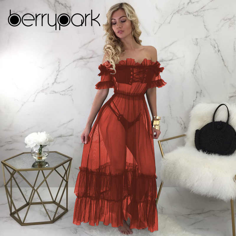 7b237f54b50d BerryPark Sexy See Through Mesh Maxi Dress Women Off the Shoulder 2019 Summer  Dresses Beach 3PCS