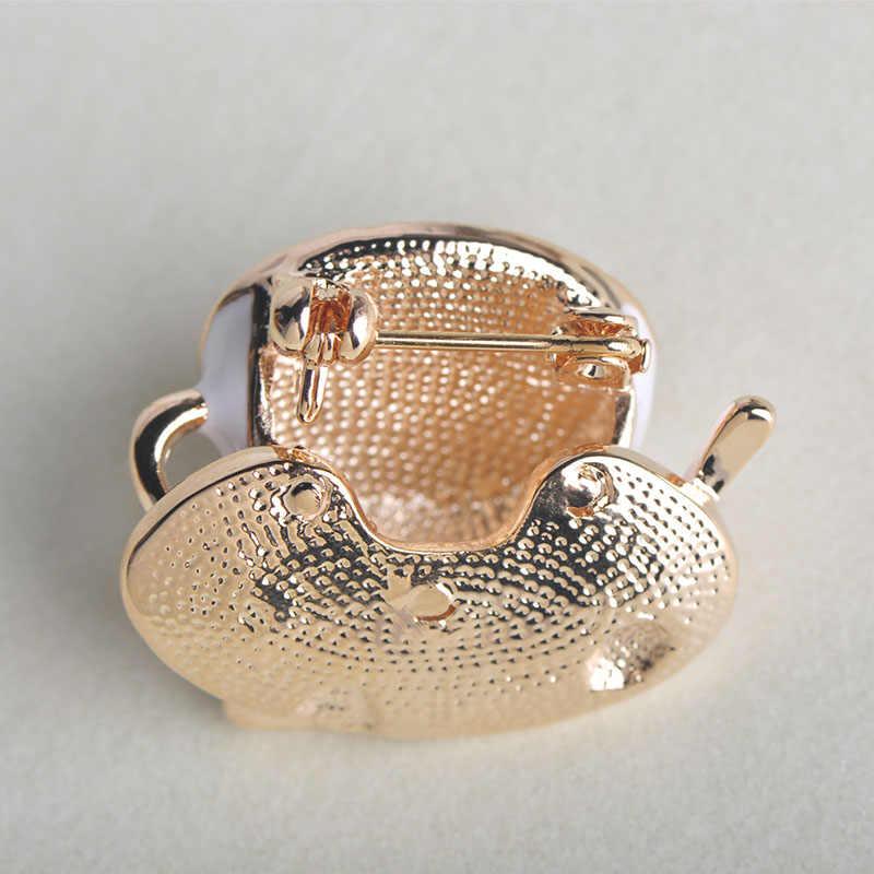 Blucome Moda Xícara de Café Colher Disco Forma Pinos Broche Broches Branco Esmalte da Cor do Ouro Dos Homens Das Mulheres Revestimento Roupa Terno Acessórios