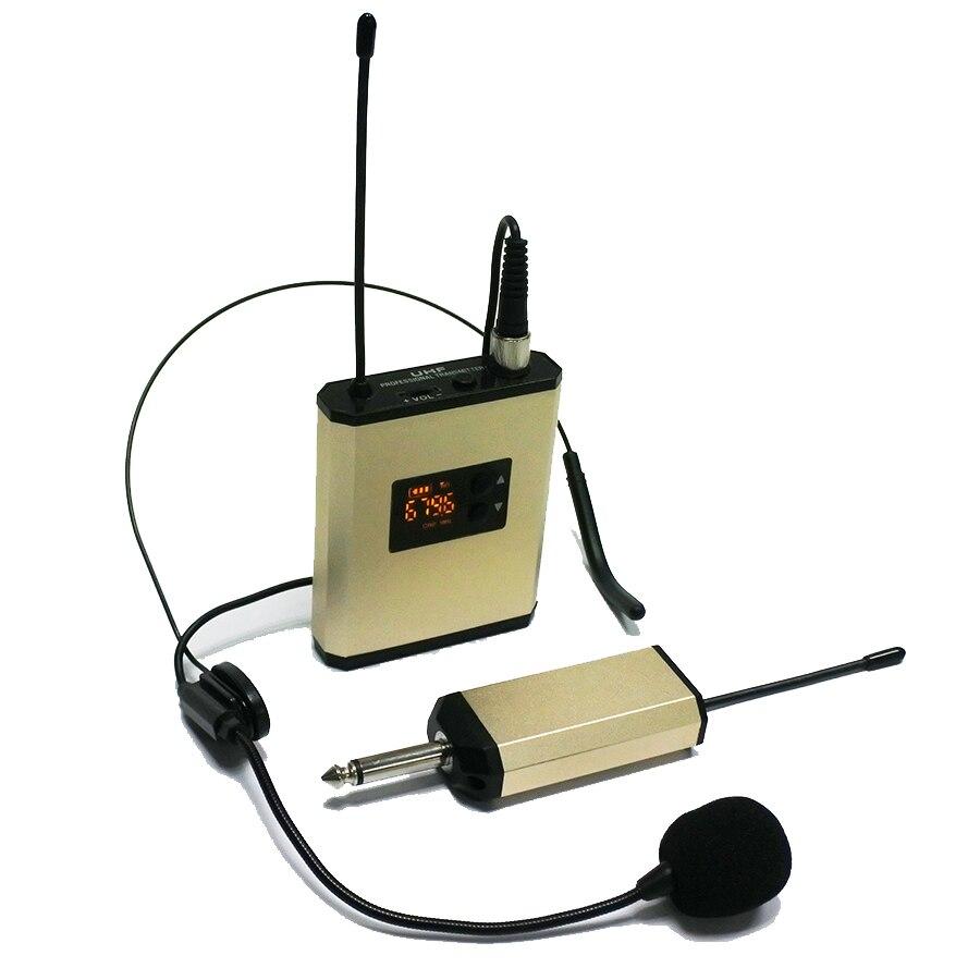 ポータブル recharage uhf 帯音声教師ツアーガイドボディパックトランスミッターヘッドセットワイヤレスマイクシステム  グループ上の 家電製品 からの マイクロフォン の中 1