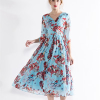 New Arrival 2017 Spring Summer Women Dress Cute Pomegranate Pattern Fashion Runway Dress Big Hem V
