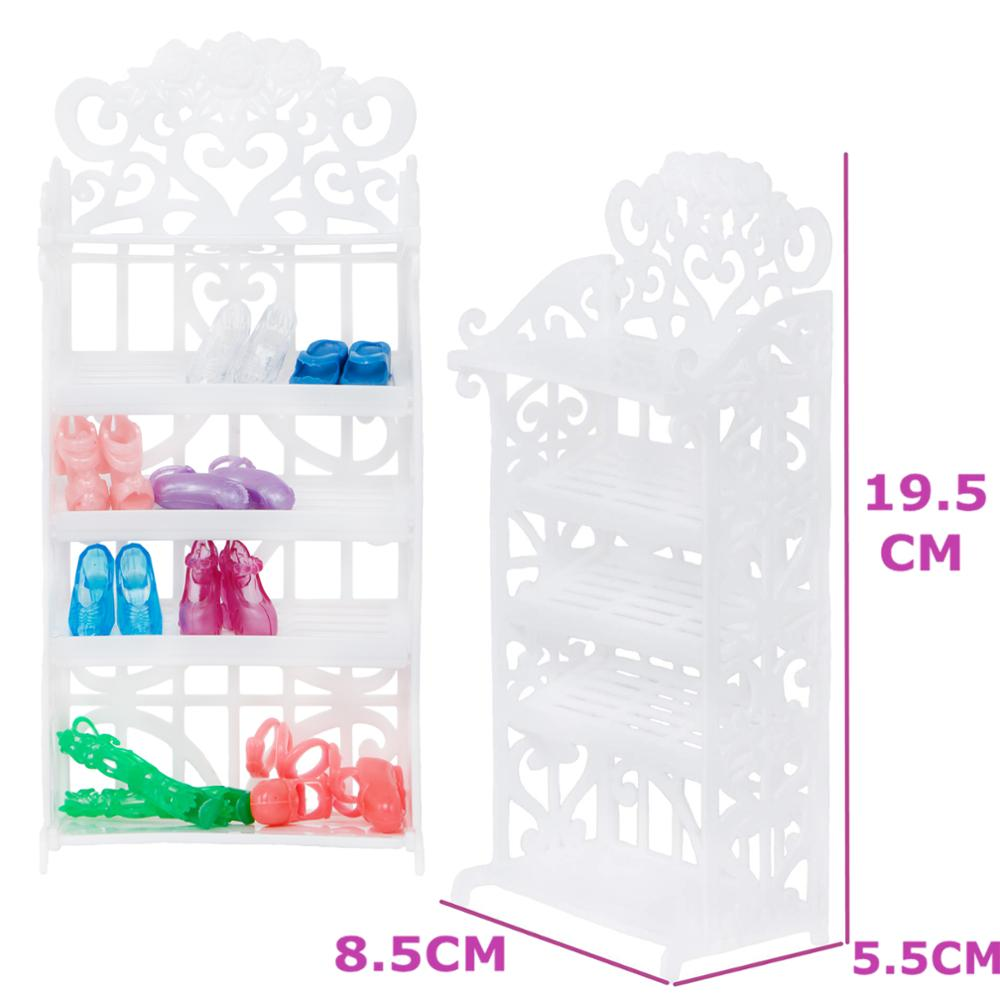 1 Set White Shoes Rack Plastic Shoe Cabinet Shelf Furniture DIY Accessories For Barbie Doll Playhouse Baby Girl Kids DIY Toy