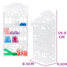 1 Set White Shoes Rack Plastic Shoe Cabinet Shelf Furniture DIY Accessories For Barbie Doll Playhouse Baby Girl Kids DIY Toy(China)