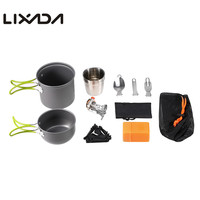 8pcs Outdoor Camping Cookware Set Camping Pot Stove Folding Spoon Fork Cutter Water Cup Mug Gas Stand Cooking Picnic Tableware
