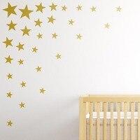 73 шт./компл., многоразовые, золотые, Звездные, настенные Стикеры, модные, для домашнего декора, настенные наклейки для детской комнаты, сделай...