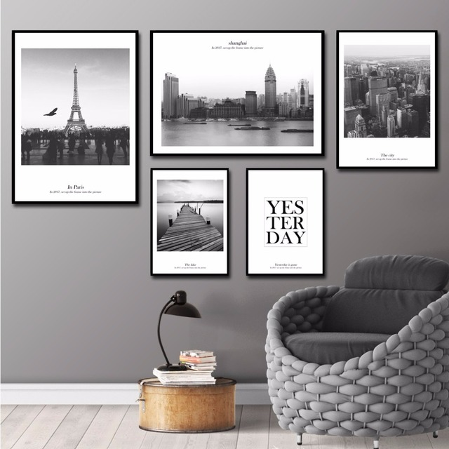 Modern Home Decor City Wall Art Paris Wall Pictures For Living Room ...