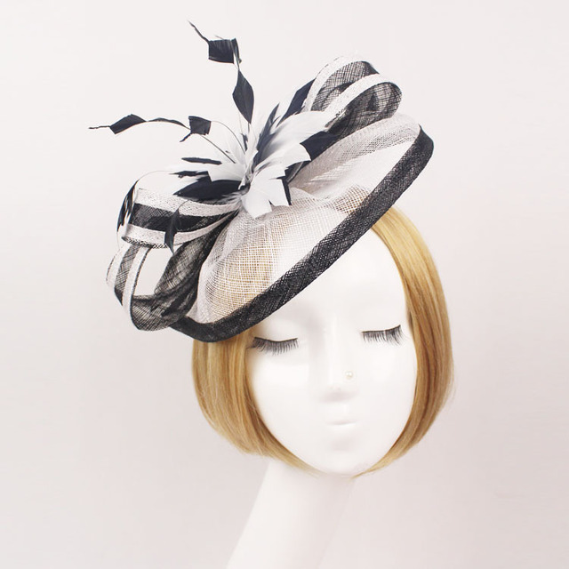 2017 Vintage Feather Linen Elegant Women Evening Party Hat Wedding Hats Party Formal Hat Bridal Mother Evening Formal Hats