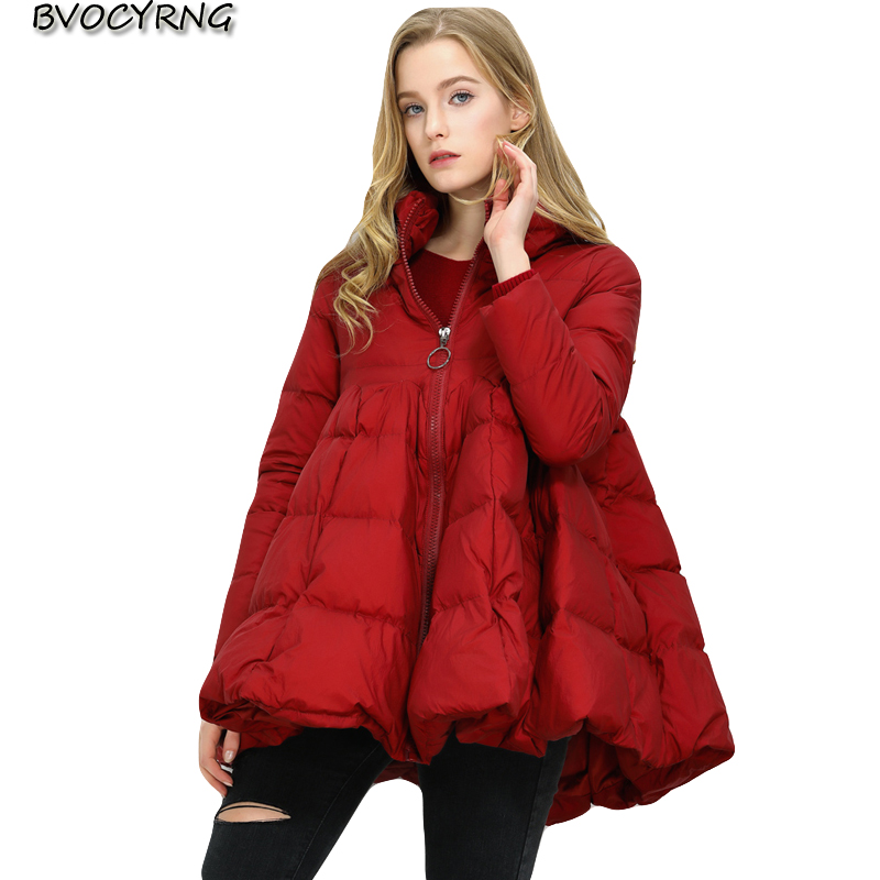 European New 2018 Fashion Large Size Women's Winter   Coat   Standing Collar Cloak A Word   Down   Jacket Female Long Winter Warm   Coat