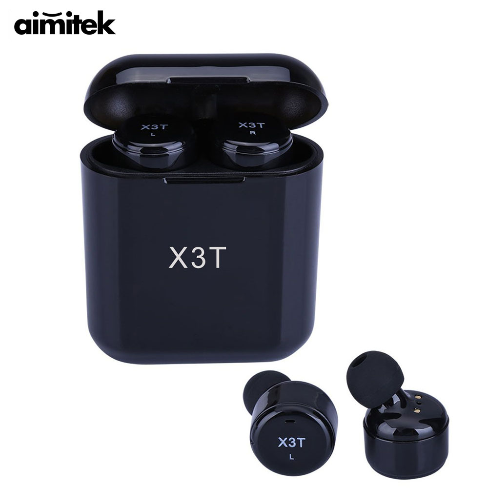 Aimitek X3T TWS Bluetooth Écouteur Mini Vrai Sans Fil Stéréo Casque In-Ear Eabud w/Chargeur Boîte pour Téléphones (mis à jour X2T X1T)