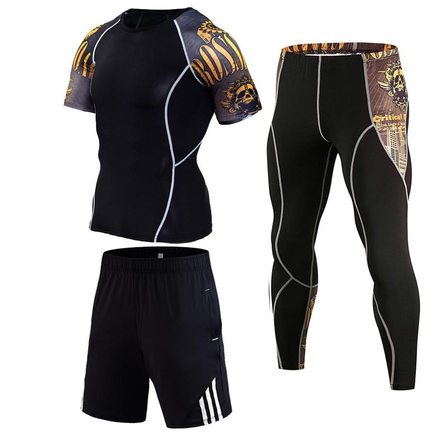 Спортивный костюм из 3 частей Мужчины с коротким рукавом Спортивный костюм Тренажерный зал быстросох