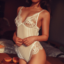 2018 New Sexy Bodysuit Women Halter Lace Jumpsuit Skinny Hollow Out Body Romper Transparent Ultrathin Overalls Mesh Playsuit