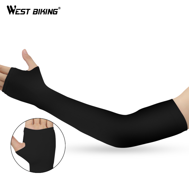 WEST BIKING Cycling Arm Warmers MTB Bike Bicycle Sleeves Armwarmer UV Protection Long Fingerless Gloves Ridding Golf Arm Sleeves цены