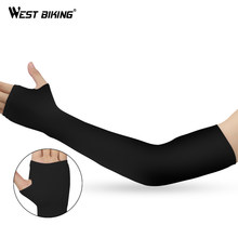 WEST BIKING Cycling Arm Warmers MTB Bike Bicycle Sleeves Armwarmer UV Protection Long Fingerless Gloves Ridding Golf Arm Sleeves(China)