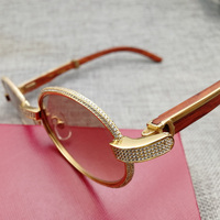 Vintage Diamond Sunglasses Men Wooden Eyeglasses Retro Shades Stone Sun Glasses Round Metal Rhinestone Glasses Frame Gafas