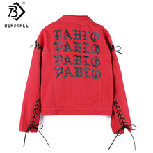 Spring Harajuku Print Women's Clothings 2018 Denim Jackets Red Lace Up Long Sleeves College Female Cowboy Jackets Coats C7D339A