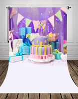 Violet birthday photography background with birthday's gifts and sweet cakes and banners Birthday cake backdrop 5x10ft D 9321