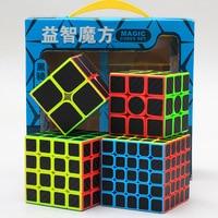 Z Cube Bundle Black Knight 2x2 3x3 4x4 5x5 Speed Cube Set Cube Pack Puzzle Carbon Fiber Cube Magic Fidget Toy Gift Box