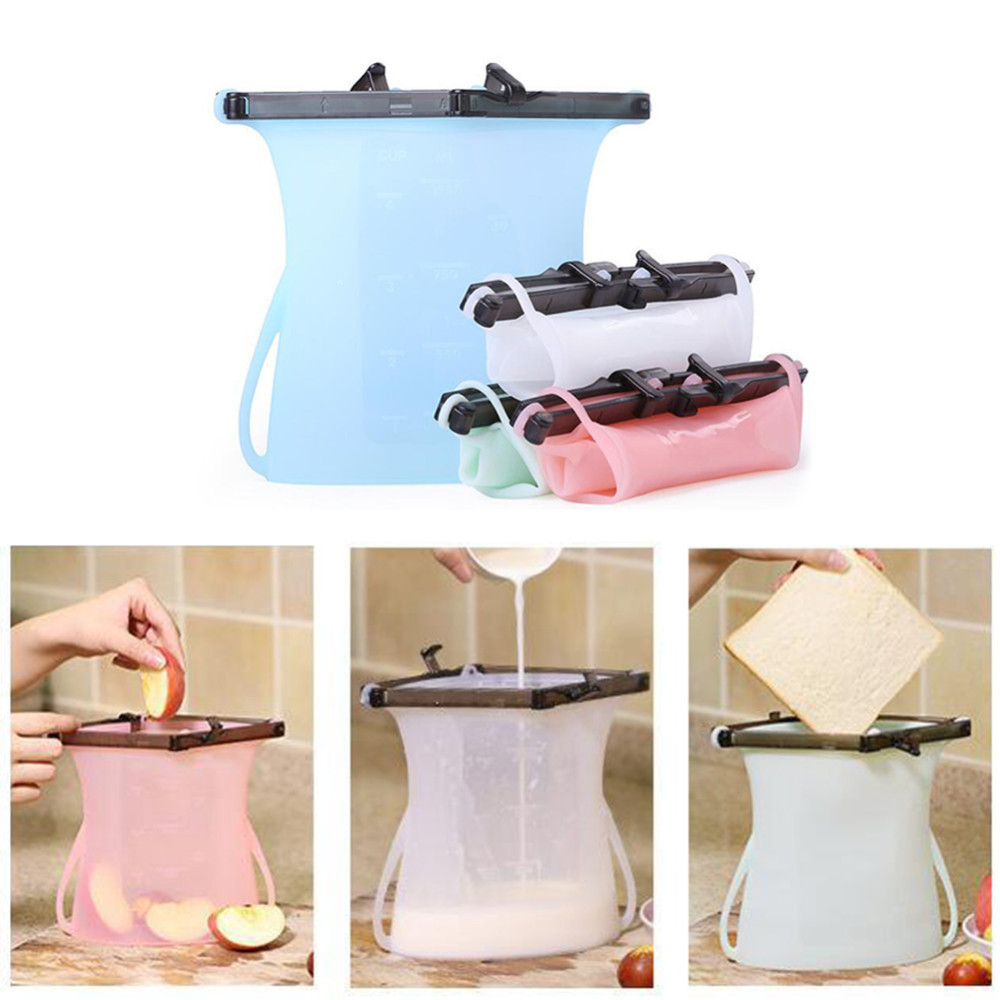 1000ml Silicone Food Fresh Sealed Bag Reusable Preservation Bags Airtight Storage Container Vacuum Cup Vegetable Fruit Drink B4-in Saran Wrap & Plastic Bags from Home & Garden