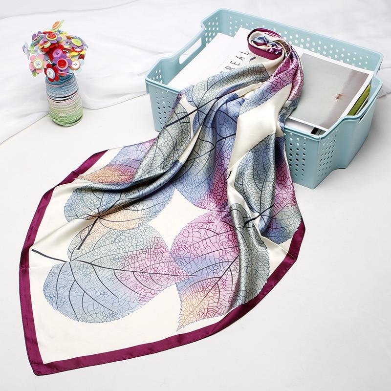 Fashion Hair Scarf For Women Leaves Print Silk Satin Hijab Scarfs Kerchief 90cm*90cm Square Neckerchief Scarves For Ladies 2019