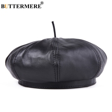 BUTTERMERE Men French Berets Hat Black Genuine Leather Painters Male Natural Retro Winter High-End Artist Cap Beret