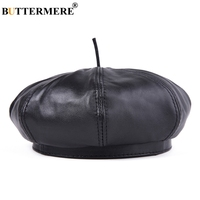BUTTERMERE Men French Berets Hat Black Genuine Leather Painters Hat Male Natural Leather Retro Winter High End Artist Cap Beret