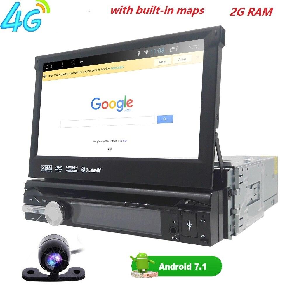 Quad Core Pur Android 7.1 Voiture Lecteur Multimédia De Voiture PC Tablet Unique 1din 7 ''GPS Navigation De Voiture Stéréo Radio Bluetooth