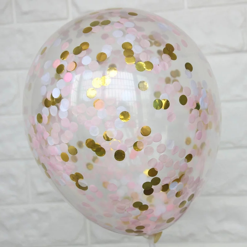 5pcs 12inch Pink White Gold Confetti Balloons Clear Latex Ballons DIY Wedding Decoration Baby Shower Birthday Party Supplies