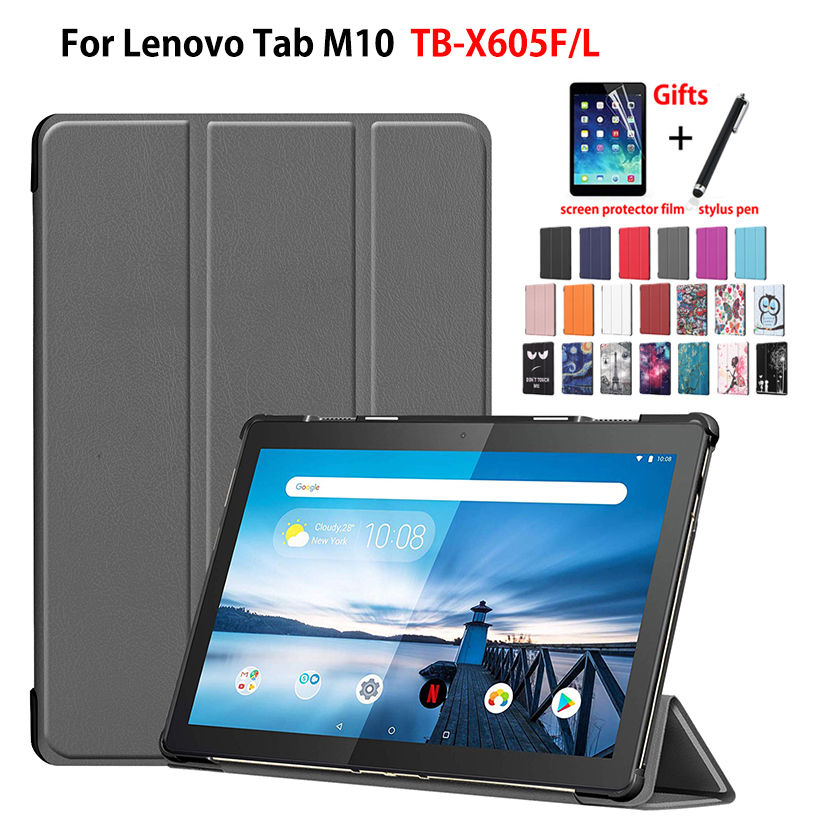 Case For Lenovo Tab M10 10.1 TB-X605L TB-X605F Cover Funda Tablet Slim Protective Stand Skin Shell +Stylus+film