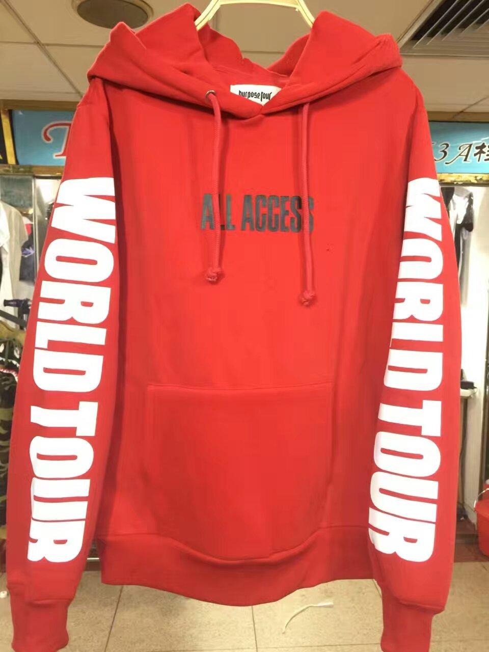 2017 justin bieber world tour Autumn winter purpose tour merchandise All Acces Print fleece men red hoodie