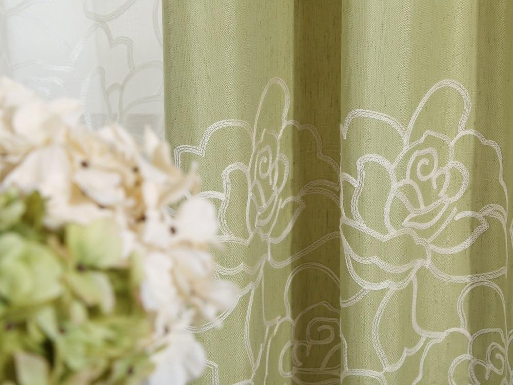 Ροζ βαμβακερή κεντημένη κουρτίνα με - Αρχική υφάσματα - Φωτογραφία 3