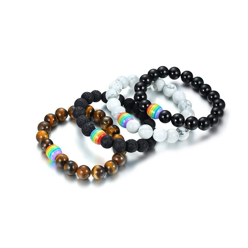 Romantic Bracelet Rainbow Beads Bracelet Stone Bracelets Jewelry Pride LGBT Fashion Precious Stone Women's Bracelet Chain