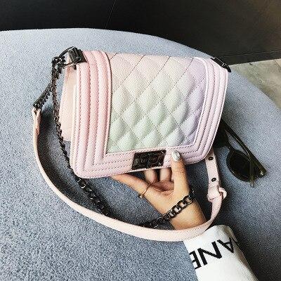 цена на 2018 Fashion Luxury Brand New Top Quality Caviar Rainbow Le Boy Crossbody Bag Shoulder Silver Hareware Chain Bag Free Shipping