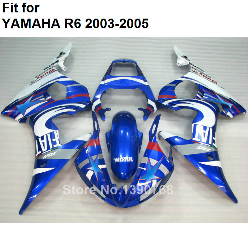 Motorcycle fairing kit for Yamaha sky blue white YZF R6 2003 2004 2005 body work parts fairings set YZFR6 03 04 05 BC12