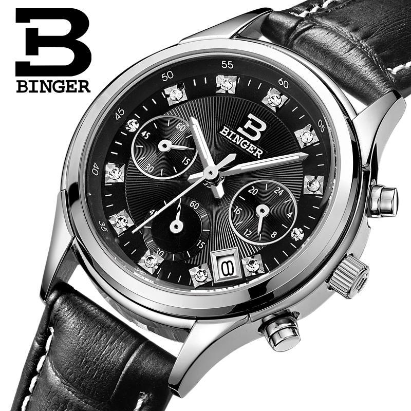 Switzerland Binger Women's watches luxury quartz clock waterproof genuine leather strap Chronograph Wristwatches BG6019-W5 binger 100