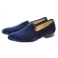 Handmade Men Blue Plain Slip On Velvet Slippers Casual Loafers Fashion Dress Formal Shoes Smoking Men