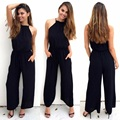 GERTU 2016 New Sexy Pleated Waist Pocket Rompers Womens Jumpsuit Plus Size Loose Cross Overalls Black Sleeveless Playsuit