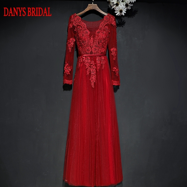 Long Sleeve Lace Evening Dresses Party A Line Tulle Beaded Red Beautiful  Women Prom Formal Evening Gowns Dresses Wear 658993029d8e