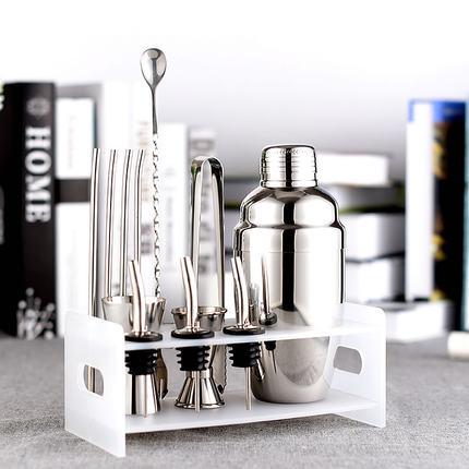 Ensemble de barre: ensemble de Barware Premium Shaker-10 pièces Kit de barman comprend shaker (550 ml), rack, cuillère, verseur, paille et pince à glace