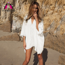 TOPMELON Swimsuit Cover Ups Women Kaftan Beach Tunic Blouses Summer Shirt Beachwear Swimsuit Pareo Cover Ups Dress Beach Tunic