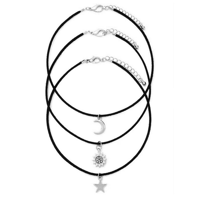 3 Pcs/Set Chokers Necklaces Vintage Star Moon Sun Alloy Pendants Necklace Fabric Cord Gothic Maxi Necklace Sets