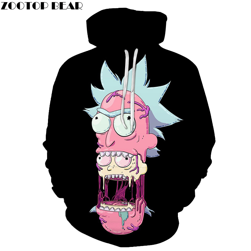 Black Hoodies Mens Sweatshirt Rick and Morty Hoodie 3D Pullover Funny Hoody Anime Tracksuit Male Streatwear  Asian size s-6xl